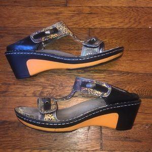 Algeria sandals black orange t-strap leather sz 38